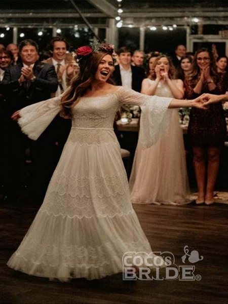 Long Sleeve Floor-Length Lace Boho Chic Wedding Dresses_2