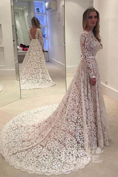 Elegant Ivory A-line Bateau Lace Long Sleeve Backless Wedding Dress_2