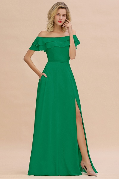 BM0775 Off-the-Shoulder Front Slit Mint Green Long Bridesmaid Dress_49