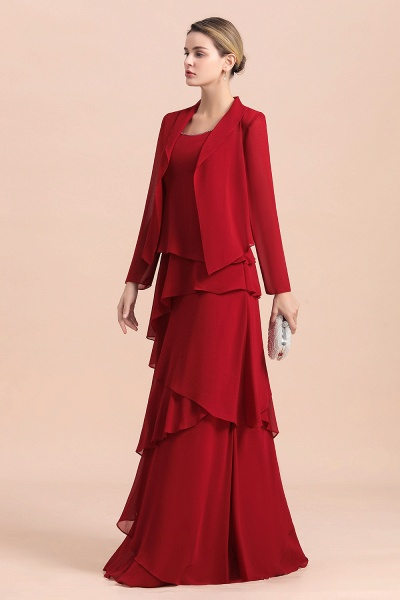 Elegant Burgundy Ruffles Chiffon Mother of the Bride Dress With Jacket_4