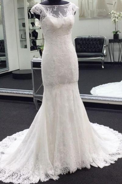 Illusion Cap Sleeve Lace Mermaid Wedding Dress_1