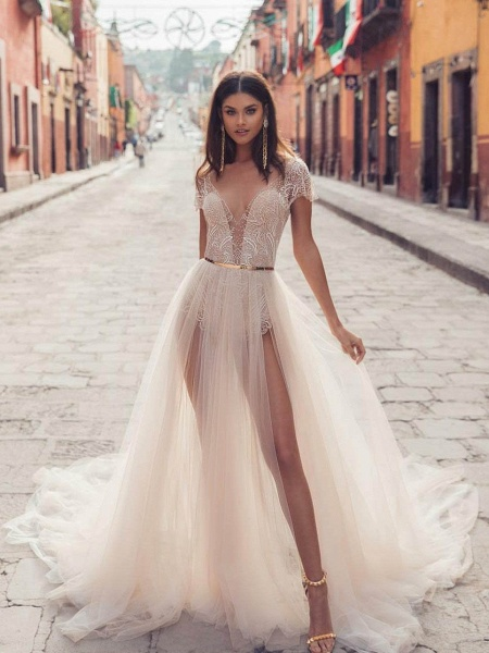V Neck Backless Lace Tull Boho Wedding Dresses_1