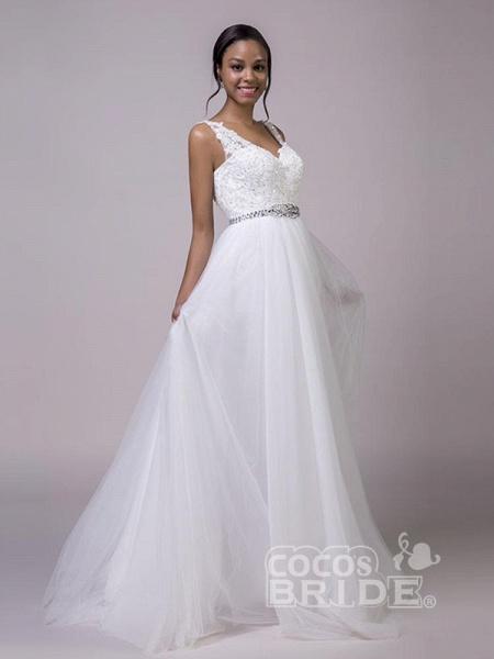 Fancy V-Neck Lace Up Sleeveless A Line Wedding Dresses_3