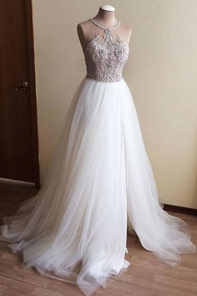 White Tulle Crystal Beaded Wedding Dress_1