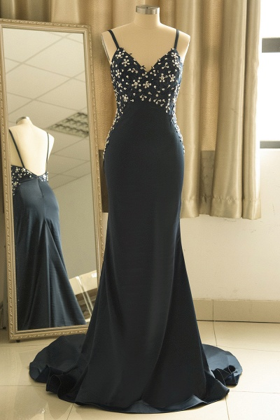 Spaghetti Strap Beaded Navy Blue Mermaid Backless Prom Dress_1