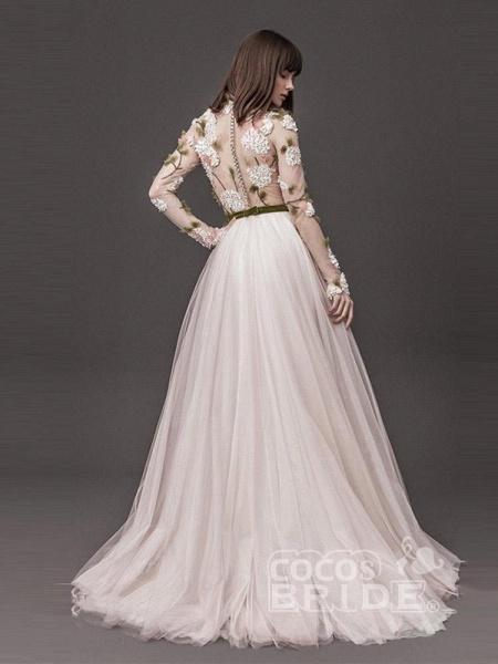 Classic Long Sleeve Appliques A-line Wedding Dresses_2