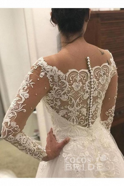 Puffy Long Sleeves Gorgeous Tulle Beads Wedding Dress_3
