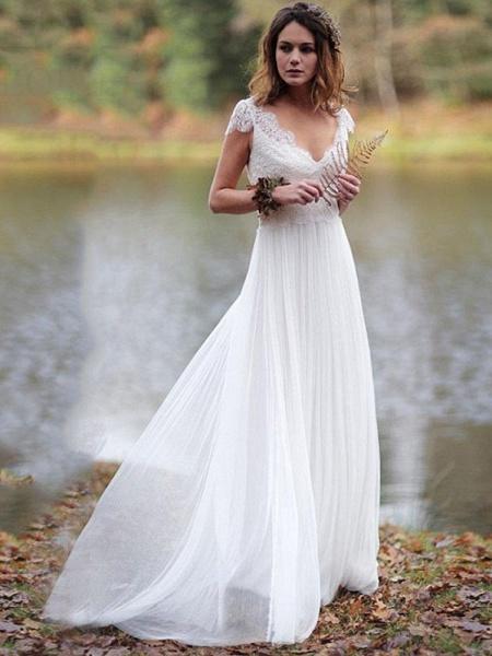 Elegant V-Neck Cap Sleeves Lace Ruffles Wedding Dresses_1