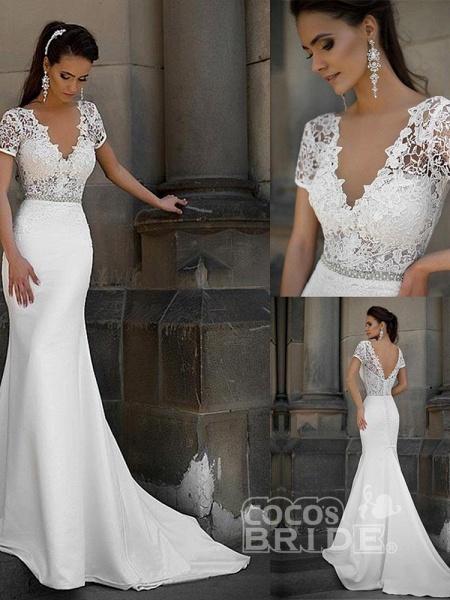 Gorgeous V-neck Short Sleeves Lace Mermaid Wedding Dresses_4