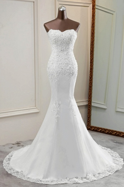 Chic Long Mermaid Strapless Lace Appliques Wedding Dress with Beadings