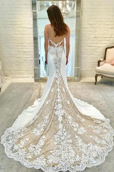 Illusion Sleeve Lace Mermaid Gorgeous Long Wedding Dress_2