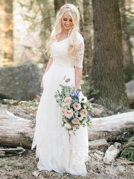 Elegant Half Sleeves V-neck Lace Boho Wedding Dress_2
