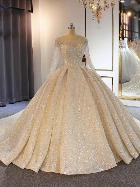 Luxury O-Neck Long Sleeves Lace Ball Gown Wedding Dresses_1