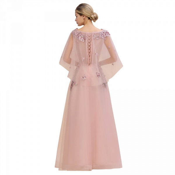 Dusty Pink Tulle Short Sleeve Long Prom Dress_6