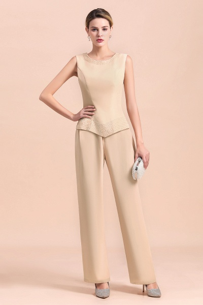 Two Pieces Champagne Long Sleeve Chiffon Mother of the Bride Dress With Jacket_7