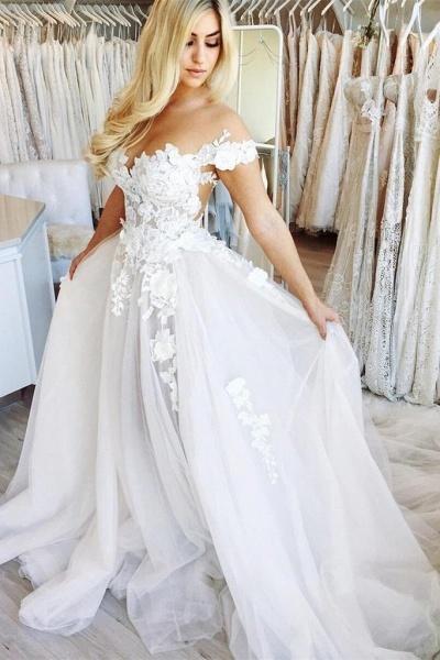 New Chapel Train Appliques Tulle Wedding Dress_1