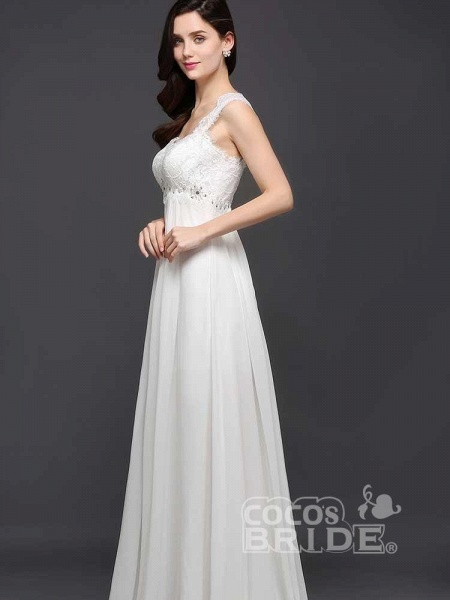 Elegant Square Beaded Ruffles Wedding Dresses_2