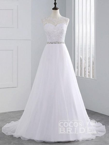 Cheap Jewel Lace A-Line Wedding Dresses_6