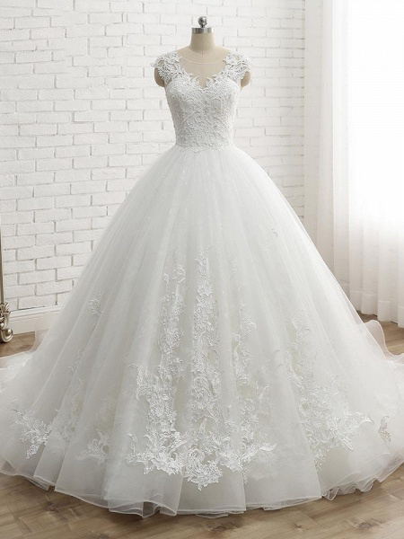 Lace-Up Tulle Ball Gown Wedding Dresses_1