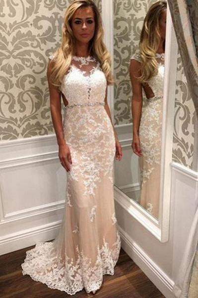 Mermaid Tulle Beach White Lace Appliques Wedding Dress_1