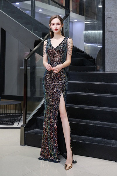 V-Neck Sequins Long Evening Dress With Split_2