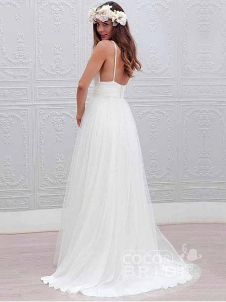 Elegant Spaghetti Straps V-Neck Tulle Wedding Dresses_2