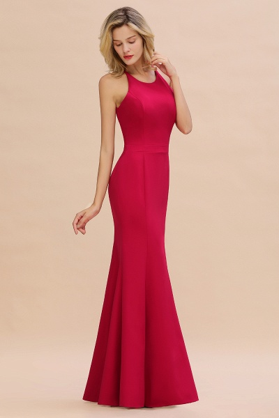 Red Mermaid Halter Prom Dress Long Evening Gowns_1