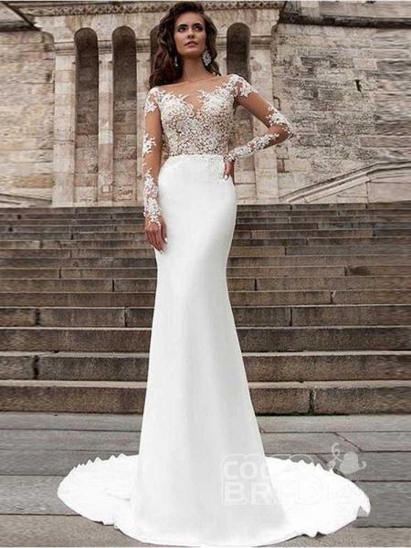 Glamorous Long Sleeves Appliques Mermaid Wedding Dresses_3