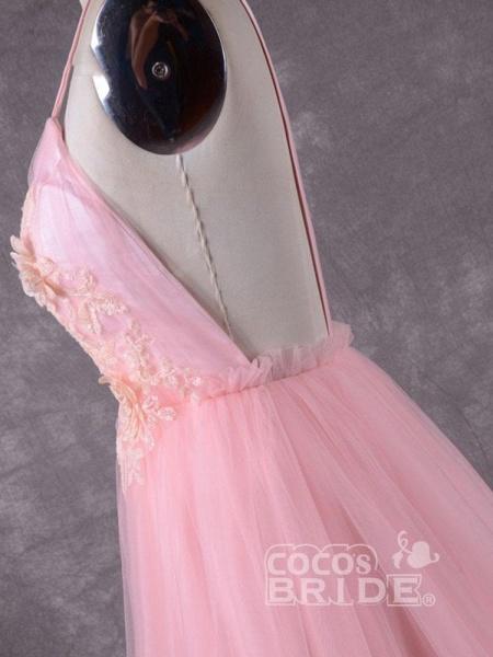 Gorgeous V-Neck Backless Tulle Wedding Dresses_4