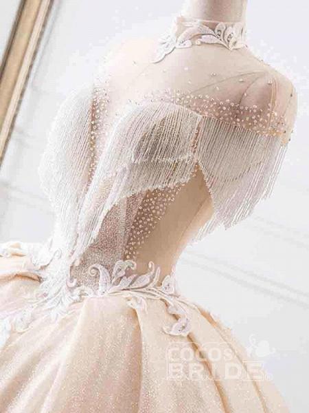 Elegant High Neck Tassel Sleeves Ball Gown Wedding Dresses_5
