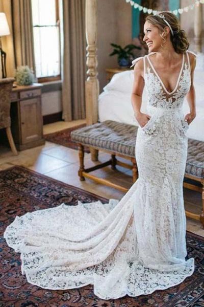 Deep V-Neck Beach Sleeveless Lace Mermaid Wedding Dress_1