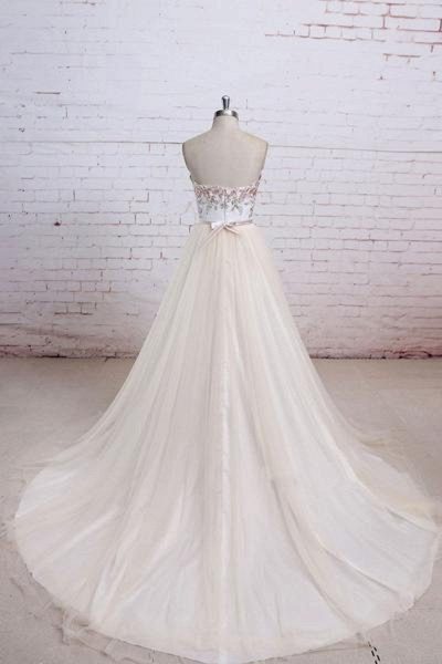 Champagne Tulle Long Strapless Simple Wedding Dress_2