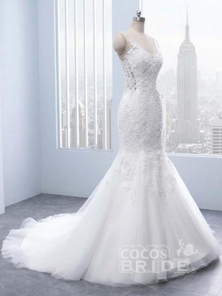 Elegant V-neck Lace Mermaid Wedding Dresses_2