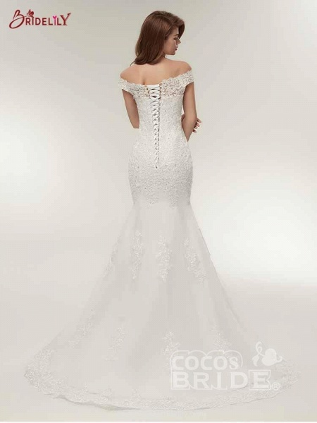 Off-The-Shoulder Bateau Mermaid Wedding Dresses_3
