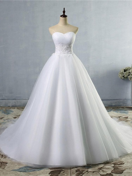 Gorgeous Sweetheart Cathedral Ball Gown Wedding Dresses_1