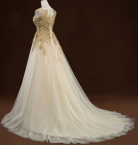 White Tulle Long Gold Applique Wedding Dress_4