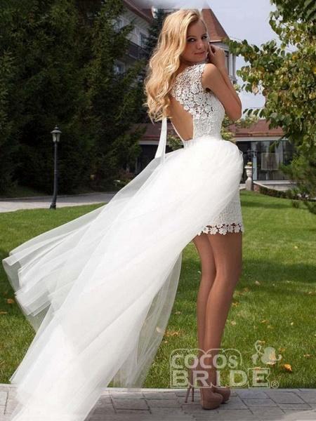 Elegant Sleeveless Backless Lace Tulle Wedding Dresses_2