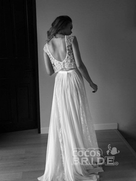 Two Piece Sweetheart Low Back Pearls Beading A-Line Wedding Dresses_2
