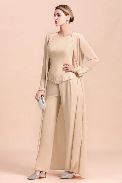 Two Pieces Champagne Long Sleeve Chiffon Mother of the Bride Dress With Jacket_4