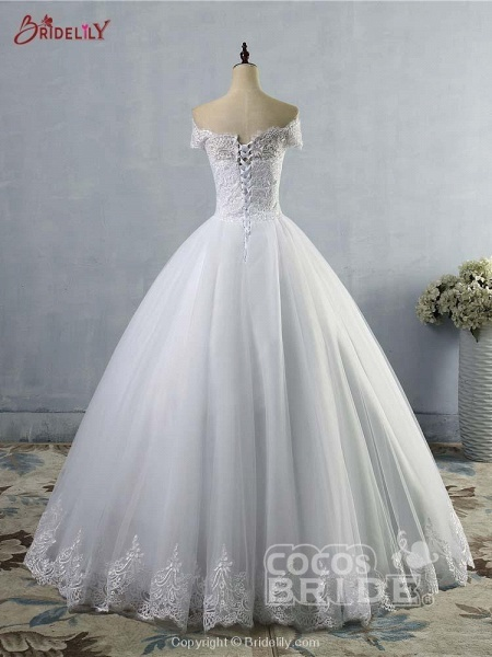 New Lace Off-The-ShouldeR Ball Gown Tulle Wedding Dresses_3