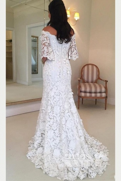 White Off the Shoulder Half Sleeves Sweep Train Lace Wedding Dress_2