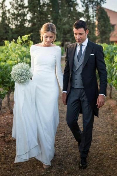 Modest Long Sleeve Sheath Country Wedding Dress_1