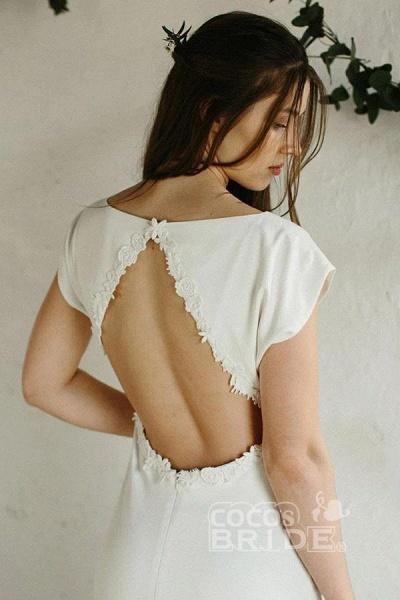 Sheath Cap Sleeves Long Simple Open Back Wedding Dress_2