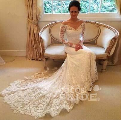 White Long Sleeves Off the Shoulder Mermaid Lace Beach Sexy Wedding Dress_3