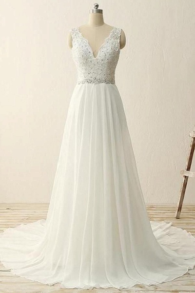 White Chiffon V-Neck A-Line Sequins Beading Long Wedding Dress_1