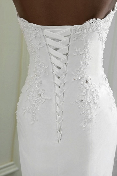 Chic Long Mermaid Strapless Lace Appliques Wedding Dress with Beadings_7