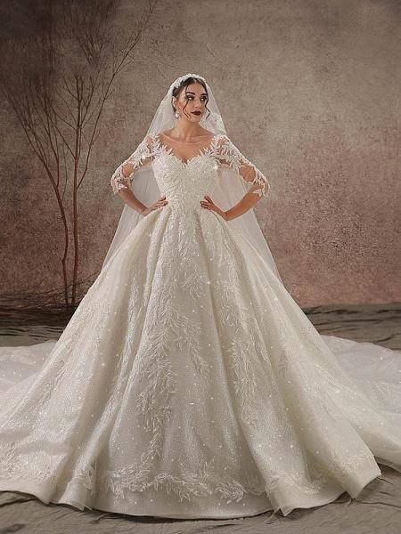 Luxury Shinny Three Quarter Sleeve Lace Beading Ball Gown Wedding Dresses_1