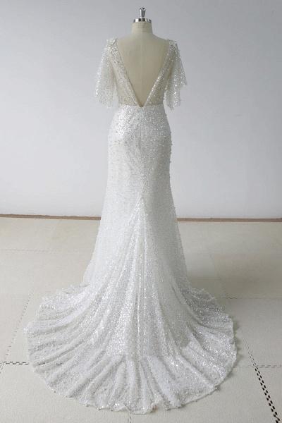 Stunning Sequins White Tulle Sweep Train Mermaid Short Sleeve Wedding Dress_3