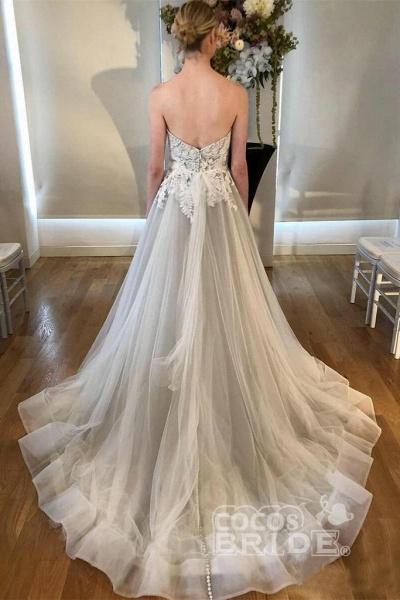 Cheap Sweetheart Neck A Line Silver Grey Long Appliqued Wedding Dress_2