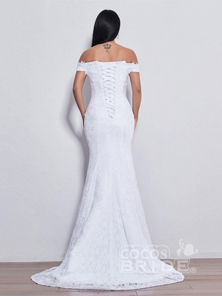 Off-the-shoulder Sweetheart Beaded Mermaid Wedding Dresses_4